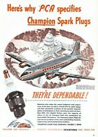 1946 Champion Spark Plugs Vintage Print Ad Capital Airlines Washington DC