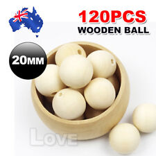 120pcs 20mm Natural Wood Bead Unpainted round Wooden Beads Spacer Ball Teething