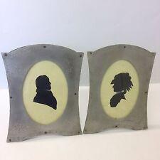 Par De Antiguos siluetas retratos de un caballero y dama en marcos de metal