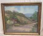 ANTIQUE OIL PAINTING SIGNED W B WARRINER 1946 LANDSCAPE BARN MOUNTAINS 32 X 29