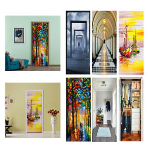 New 3D Door Wall Sticker Decal Self-adhesive Mural Scenery Fabric Home Decor PVC