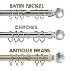Curtain Pole Extendable Metal Crystal Pole Rings, Finials & Fittings 28mm Thick