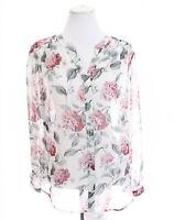 Ann Taylor Loft Floral Print Sheer Tunic Top Popover Roll Tab Sleeve Women Sz M