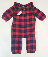NWT Baby Gap Girls Size 6 12 18 24 Months Red & Blue Ruffle Plaid Romper