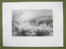 CANADA Indian Town River of St. John - 1841 Engraving Print by BARTLETT