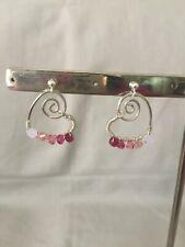 Sterling Silver Handmade Earrings Heart Austrian Crystals