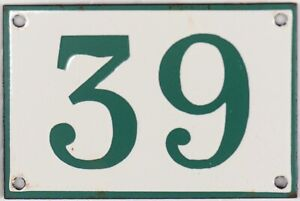 Old green French house number 39 door gate plate plaque enamel steel metal sign