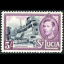 St Lucia 1938-48 5s Banane Bateau Sg 137. Légèrement à Charnières Neuf (CA69X)