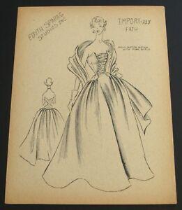 1950's Edyth Sparag Vintage Fath Fashion Design Original Print~Fabulous Gown! #2
