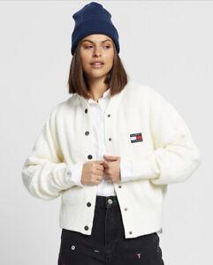 Tommy Jeans RRP$199 15% Wool 'Button Detail Cardi' Cardigan Logo Size Medium