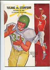Stanford vs  Tulane   College Football Program Sept 23,1961   MBX66