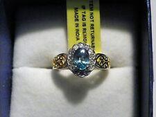 Cambodian Blue Zircon & White Zircon ring 1.35 ct in 14K YG over 925 size 5