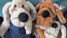 3 Unique Vintage GANZ Puppet Plush Wrinkles Dog~ DAD, MOM, BABY with Black Nose!