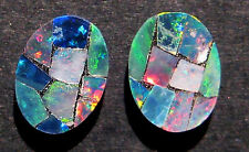 Australian Mosaic Opal Doublets  pair  ready to be set  8x6mm (AOW 1365)
