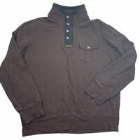 Polo Ralph Lauren 1/4 Zip Up Henley Sweatshirt Snaps Zip Men's 2XL XXL VTG Brown