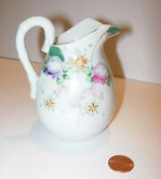 "hand painted antique vintage WHITE floral CREAMER CREAM PITCHER table decor 4"""