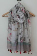PRETTY FLORAL AND PATTERNED PRINT TASSEL SCARF