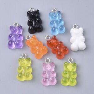 Gummy Bear Charm Mixed Pendant Resin Pack of 10