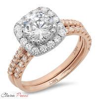2.10 CT Round Cut Halo Wedding Engagement Ring band set 14k Rose/White Gold