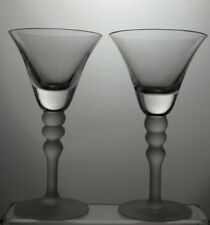 """LARGE MARTINI CLEAR BOWL AND FROSTED STEM COCKTAIL GLASSES SET OF 2 - 7 1/2""""TALL"""