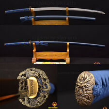 Real Hamon 1095 Japanese Samurai Sword KATANA Clay Tempered UNOKUBI-ZUKURI Blade