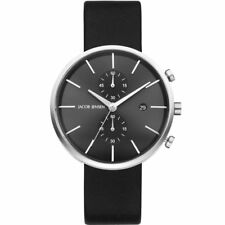 Jacob Jensen 620 Black Leather Chronograph Watch JJ620