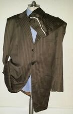 Bespoke 46XL ASTOR & BLACK Brown PinStriped 2-pc Suit Wool Jacket Pant  38 X 34