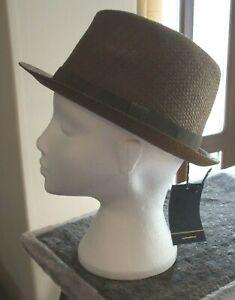 Men's Failsworth Narrow Brimmed Straw Trilby Hat Colour Tobacco Size Medium