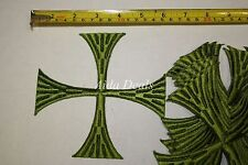 "(12 pcs) Iron Embroidered Religious Patch Green Cross 5""1/2x5""1/2 (Design #0013)"