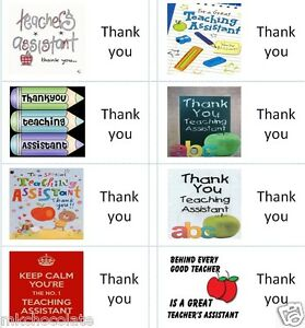 40 x Thank you Teaching Assistant labels/stickers/cake/sweets/present/gift bags