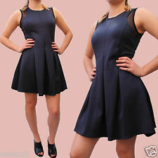 Next Navy Jersey Stretch Party Prom Cocktail Skater Fit Flare Dress 12 Petite