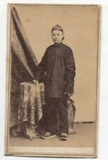 Rare 1860s Identified CDV Photo of Chinese Boy by Nahl & Dieckmann San Francisco