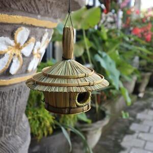 Small Round Seagrass Bird Box 17 x 17cm - Rustic Garden Ornament