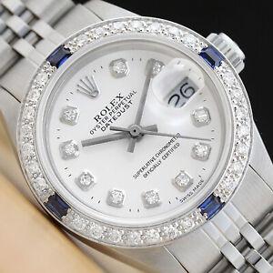 Donna Rolex Datejust 18K Oro Bianco Diamante Zaffiro & Acciaio Watch - Quadrante