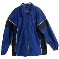 Vintage Nike Blue Lightweight FullZip Collared Nylon Windbreaker Jacket Men's XL