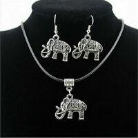 Vintage Jewelry Set Tibet Silver Elephant Pendant Necklace Retro Hook Earrings