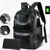 New Fashion Mens PU Leather School Backpack Waterproof Laptop Travel Bag BL