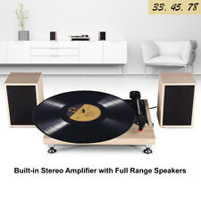 Vinyl Turntable Record Player Speakers AUX 3 Speed Light Wood Style
