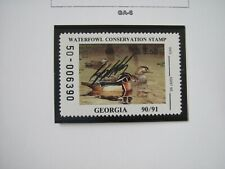 F3037 GA 1990 WOOD DUCK-SBA GUY COHELEACH STAMP, SERIAL NUMBER 50-006390
