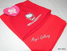Sanrio Hello Kitty  Knit Cap Hat Beanie Beanies  Scarf 2 pc Set Red  NWT