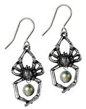 Alchemy Gothic Pewter Glistercreep Spider Pearl Drop Pair of Earrings E397