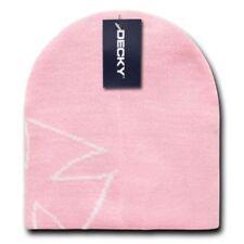 Pink White Chopper Maltese Biker Beanie Knit Hat Winter Iron Cross Stocking Cap