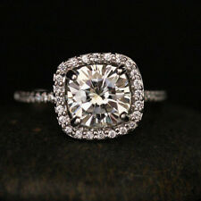 Real 14K White Gold Engagement Rings 2.30 Ct Real Moissanite Ring Solid