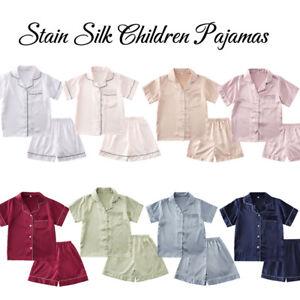 Girls Boys Silk Satin Pajamas Set Kids Suit Short Sleeve Sleepwear Nightwear