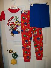 Super Mario Let's Go Long Short 3 Piece Pajama PJ Set Boys Size 8 NWT