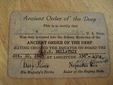 "WWII 1943 Official Certificate U.S. Navy~""ORDER OF THE DEEP""~Equator~BELLATRIX"