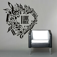 01028 Wall Stickers Sticker Adesivi Murali Cuore I love Music 96x100cm