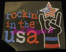 4th of July Patriotic Rockin in the USA Rhinestone Iron On Transfer Bling