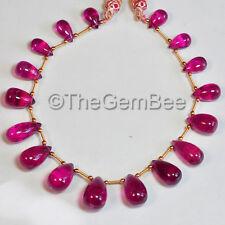 "Precious Rubellite Pink Tourmaline Smooth Teardrop Briolette Bead 10"" strand"