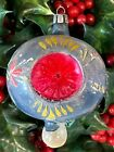 Vintage BLOWN GLASS Christmas Ornament TEARDROP Poland DOUBLE INDENT REFLECTOR